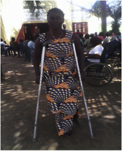 Meet Aku Akpa, a woman who lives in Aflao in the Volta Region of Ghana. She is unemployed and needs an assistive device.